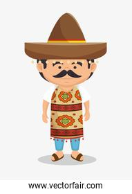 mexican man hat traditional dress illustration