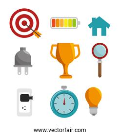 icon efficient management design isolated