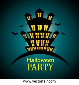 poster halloween party with house scary design isolated