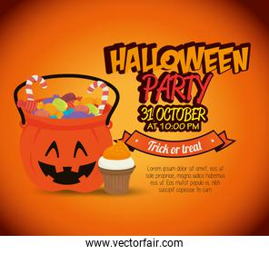 poster halloween party with pumpkin design isolated