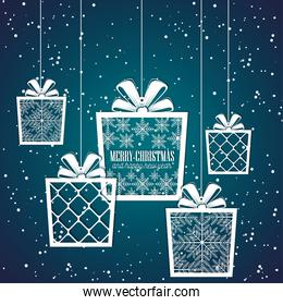 gift merry christmas and new year design isolated