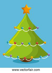 tree merry christmas and new year design isolated