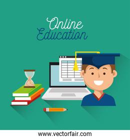 student laptop book education online student laptop book icon