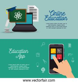 banner online education infographic design