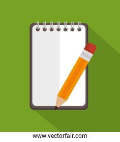 notepad with pencil education icon