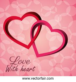 intertwined hearts love with heart icon