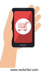 hand hold smartphone cyber monday shop