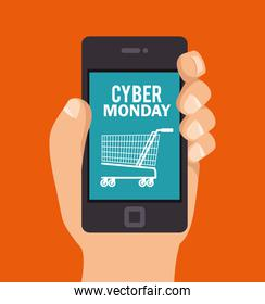 cyber monday hand hold smartphone shopping