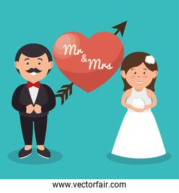 mr and mrs couple heart wedding design graphic