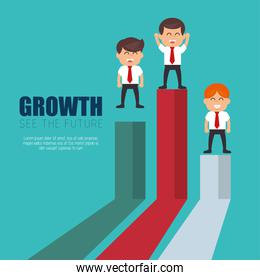 businessmen standing financial bar growth