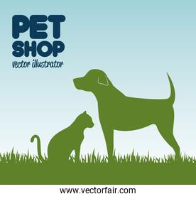 gree silhouette dog cat and grass, pet shop icon design