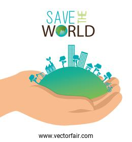 ecology concept hand holds city save the world