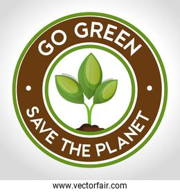 go green emblem save the planet