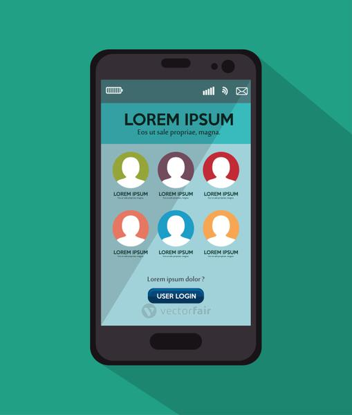 smartphone user loggin green background with shadow