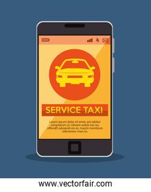 smartphone with app service taxi