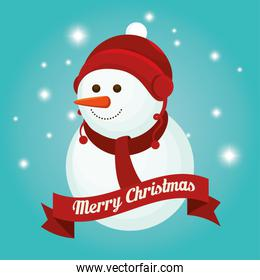 merry christmas snowman with ribbon decoration