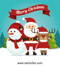 merry christmas, snowman with reindeer and santa claus