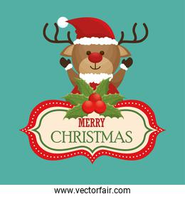 happy merry christmas with character reindeer