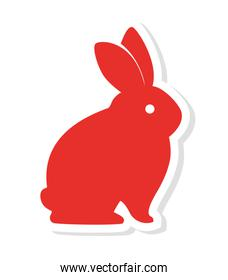 silhouette red rabbit icon