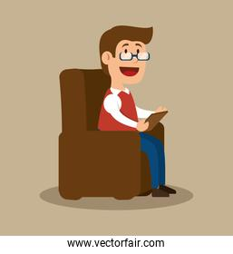 psychology counselor sitting office