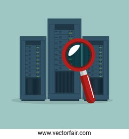 data center server searching icon graphic