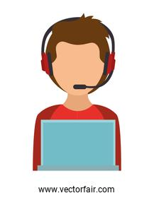 boy character using laptop and headphones