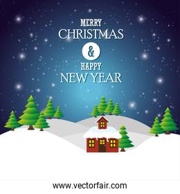 greeting merry christmas happy new year house landscape light snow