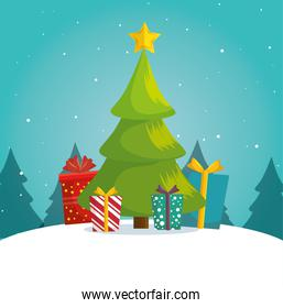 green tree christmas gifts boxes landscape background