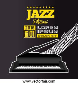 jazz festival poster piano notes black background
