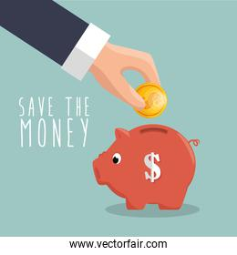 hand put coin piggy save the money icon