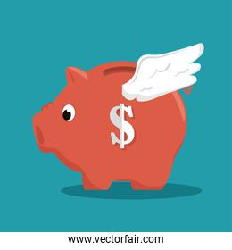 save the money piggy with wings