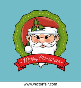 christmas label santa claus design