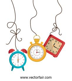set clock hanging with background