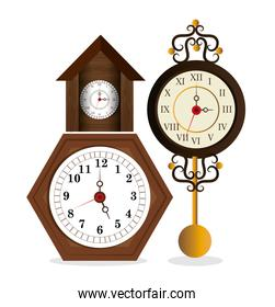 two clock wooden traditional vintage