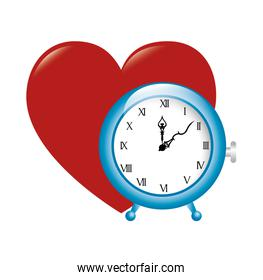 clock time big red heart