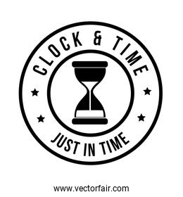 clock and time just in time label