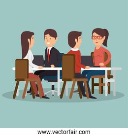 office teamwork meeting business characters graphic