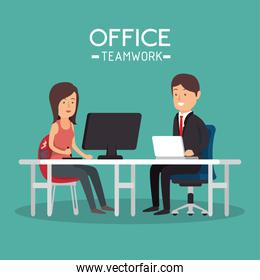 office teamwork woman and man working pc
