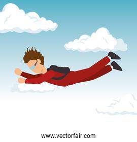 man sky diving extreme sport