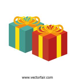 two gift boxes red and green white background