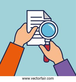 hand human with document and magnifying glass