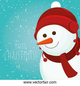 poster merry christmas with cute snowman