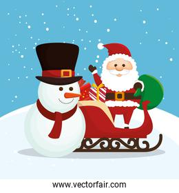 snowman with santa claus and sled
