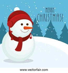 merry christmas snowman in winter landscape