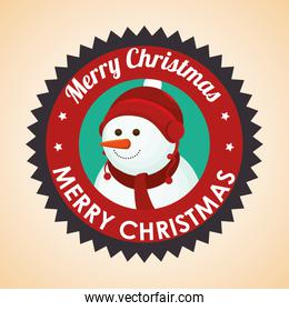merry christmas label with snowman
