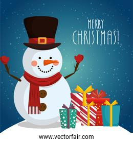 poster merry christmas with snowman and gift boxes