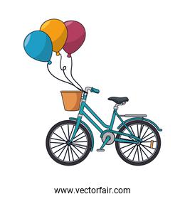 bicycle retro with balloons party