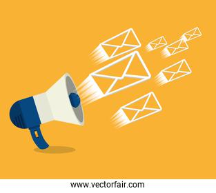 megaphone with envelopes isolated icon