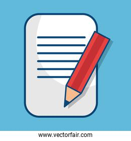 paper document with pencil isolated icon