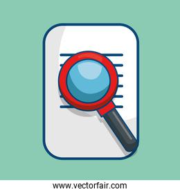 paper document with magnifying glass isolated icon